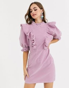 ASOS DESIGN, Cord Mini Dress with High Neck and Puff Sleeve Frill Detail - £40